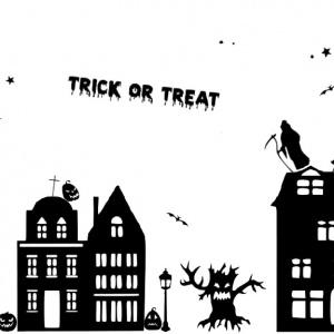 Raamsticker halloween straatje