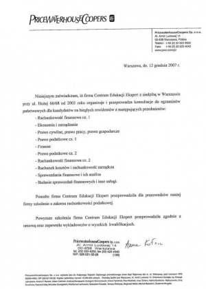 Referencje szkolenia  wCentrum Edukacji Ekspert