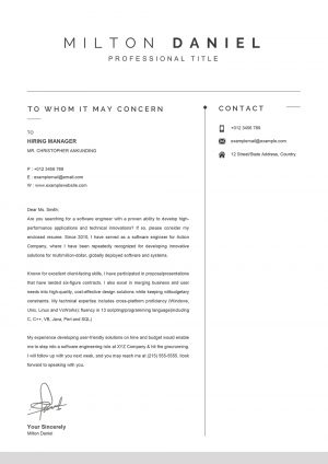 Professional Word Cover Letter Template