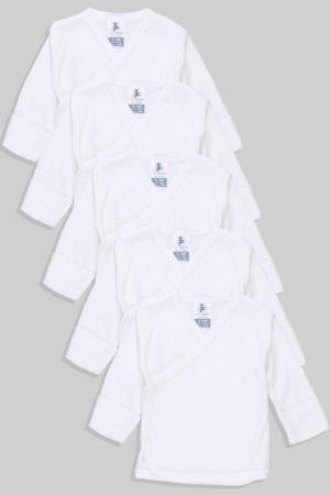 שישיית חולצות מעטפת לתינוק עם כפפה טריקו/פלנל (0-3 חודשים)