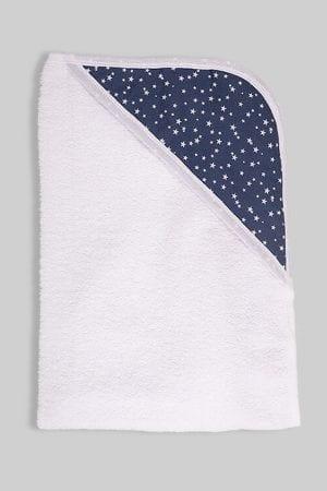 מגבת לתינוק עם כובע כחול כוכבים קטנים