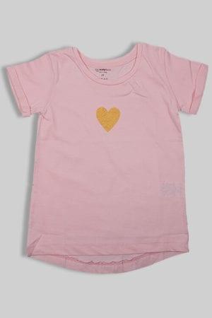 """חולצה """"לב"""" ורוד בהיר"""