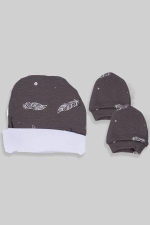 כפפות וכובע לתינוק - בסיס אפור נוצות