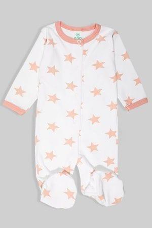 אוברול לתינוקות פלנל - ורוד עתיק כוכבים (0-18 חודשים)