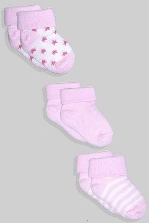 שלישיית גרביים לתינוקות  - ורוד