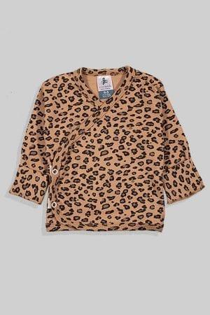 חולצת מעטפת עם כפפה פלנל - מנומר (0-3 חודשים)