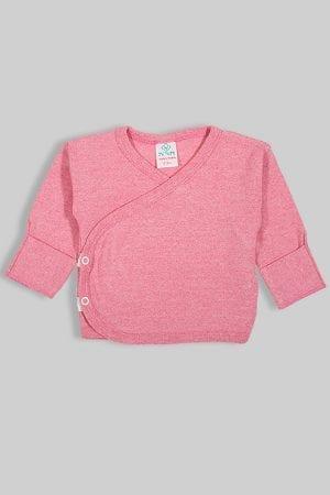 חולצת מעטפת עם כפפה פלנל - ורוד חלק (0-3 חודשים)