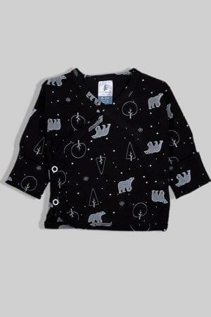 חולצת מעטפת עם כפפה פלנל - דובים - שחור (0-3 חודשים)