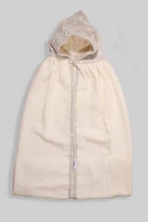 מגבת ענקית לתינוק עם כובע כוכבים אפורים
