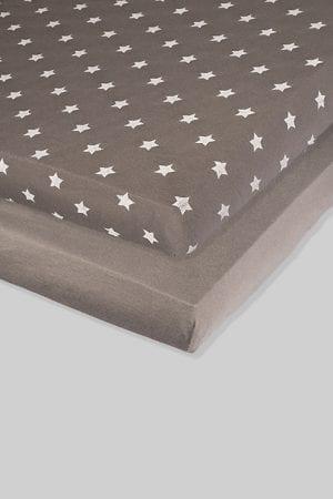 זוג סדינים אפורים - כוכבים חלק - מיטת תינוק/מיטת מעבר | עריסה |