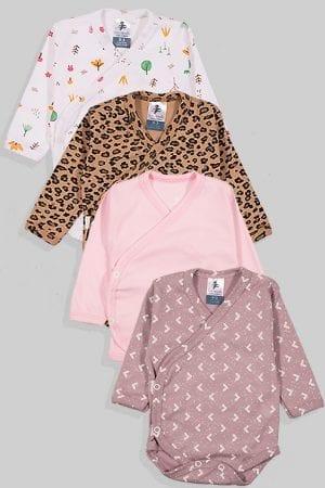 רביעיית בגדי גוף לתינוק מעטפת טריקו - מנומר יער חלק משולשים (0-3 חודשים)