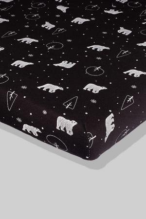 סדין שחור דובים  - מיטת תינוק/מיטת מעבר