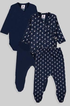 שני סטים בגדי גוף ורגליות לתינוק מעטפת טריקו - חלק משולשים - כחול (0-3 חודשים)