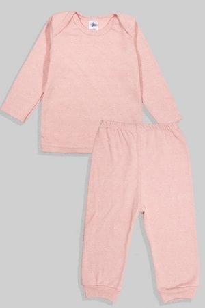 חליפת שינה שרוול ארוך פלנל - ורוד עתיק חלק (3 חודשים - 2.5 שנים)
