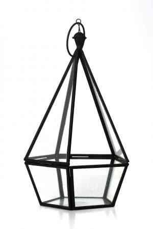Iron & Glass geometrical lantern 10″X5.5″