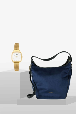 STYLEPAKET- Kate Liv Blue-Gold Paket- Marc O'Polo Liv Schultertasche schwarz + Komono Kate Royale Uhr Watch Gold