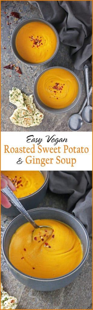 Easy Filling Vegan Roasted Sweet Potato Ginger Soup