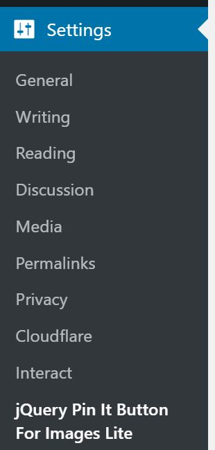Screenshot of settings in WordPress with the jQuery Pin It button highlighted
