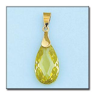 Colgante lagrima en oro amarillo de 18Kts con piedra de color Peridot light. L Ref; G253