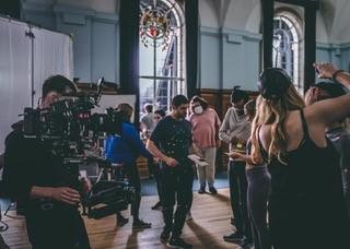 Film crew in Peckover Hall