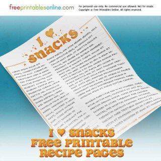 snacks printable recipe page