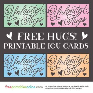 Unlimited Hugs IOU Cards