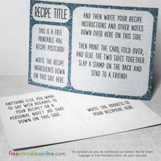Patterned recipe postcard