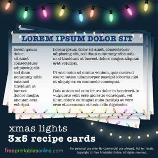 XMAS LIGHTS 3X5 RECIPE CARDS
