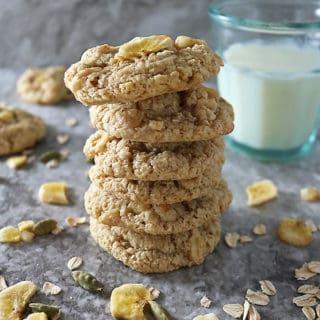 Stack of Gluten Free Oat Banana Cookies