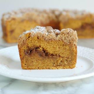 pumpkin coffee cake with walnut streusel