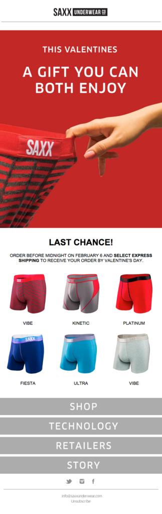 SAXX Underwear gender segmentation Valentine's email design