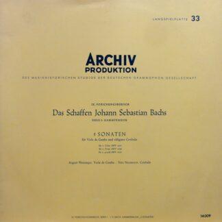 Johann Sebastian Bach − August Wenzinger, Fritz Neumeyer - 3 Sonaten Für Viola Da Gamba Und Obligates Cembalo (LP, Mono, RE)