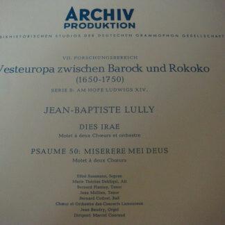 Jean-Baptiste Lully - Dies Irae / Psaume 50: Miserere Mei Deus (LP, Mono)