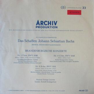 Johann Sebastian Bach, Festival Strings Lucerne, Rudolf Baumgartner - Brandenburgische Konzerte Nr. 1, Nr. 4, Nr. 6 (LP, RE)