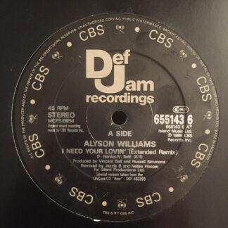"Alyson Williams - I Need Your Lovin' (12"", Single, Gen)"