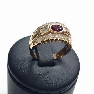 Anello con diamanti e rubino in oro 18 carati prezzo outlet