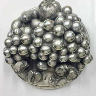Bellissima fruttiera fatta a mano in argento 800 punzonata anni 70