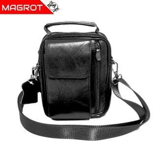 Borseta din piele naturala Negru, cu suport telefon, pentru mana, umar sau curea, Magrot 5006