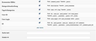 Einstellungen des WordPress Plugins Search & Replace