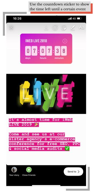 Instagram Stories | Countdown Sticker