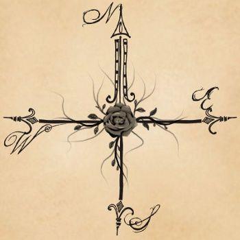 tatuaje rosa de los vientos Tribal