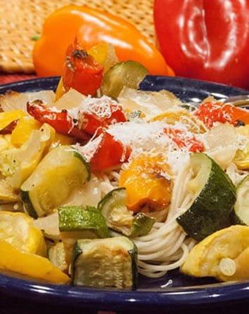 roasted veggies over pasta 01
