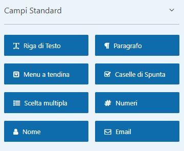 WPFforms: i campi standard per il modulo