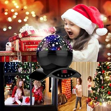 Amouhom Sternenhimmel Projektor Lampe mit Fernbedienung, LED Nachtlicht mit Wiederaufladbare Batterie 360 Drehen und Timing Schlaflicht für Kinders Schlafzimmer Romantische Geschenke für Frauen - 6