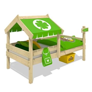 WICKEY Kinderbett CrAzY Buddy Einzelbett 90x200 Abenteuerbett mit Dach und Lattenboden, apfelgrün - 3