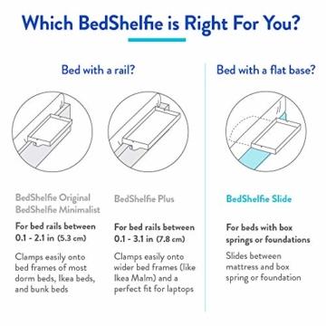 BedShelfie Slide Das Original Nachttisch Regal - 3 Farben / 3 Größen - GESEHEN AUF Business-Insider und Kickstarter (Slide, Bambus in Weiß) - 3