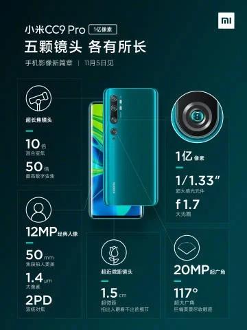 Xiaomi Mi Note 10: todos