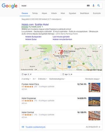 Google cégem találatok példa