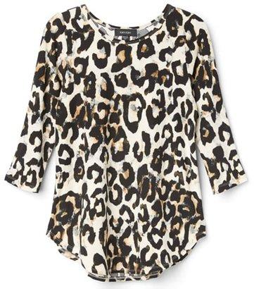 Karen Kane cheetah print shirttail top | 40plusstyle.com