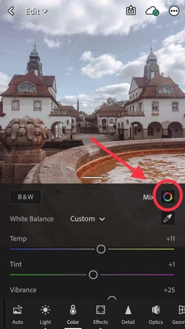 editing the colors of the photo in the free lightroom app